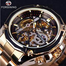 Watch Box Case Men Canada - Forsining Steampunk Gear Design Transparent Case Automatic Watch Gold Stainless Steel Skeleton Luxury Men Watch Top Brand Luxury+Watch box