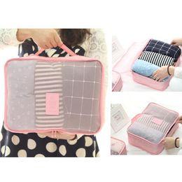 Types Set Clothes Australia - Wholesale- 6pcs set Home Storage Bag Luggage Clothes Tidy Storage Pouch Portable Organizer Case in 6 Size