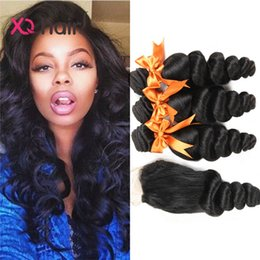 Nouvelle Dentelle Acheter Pas Cher-2017 New Brazilian Hair Loose Weave Achetez 3pcs Hair Get One Free Lace Closure Non Traité Extrusion de cheveux péruvienne malin