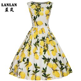 Robes De Vente En Gros De Taille Midi Pas Cher-Vente en gros - LANLAN XS-4XL Lemon Printing Swing 1950's Dress 2016 Lemon Printing Midi Longueur Vintage Tutu Robes Femme Plus Size Summer Dress