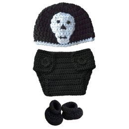 infant girl booties UK - Super Cool Newborn Knit Skull Costume,Handmade Crochet Baby Boy Girl Skull Hat Diaper Cover Booties Set,Infant Halloween Costume Photo Props