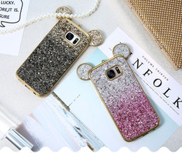 Wholesale 3D Ear bling Phone Case For Samsung Galaxy S6 S7 Edge Cover Colorful Gradient Glitter Cover For Samsung Galaxy S8 Plus Cute Case