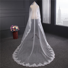Barato Véu Sem Pente-Lace 3M Long Wedding Veil Sequins Beading Cathedral Length Wedding Veils Nupcial Long Veil sem pente