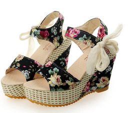 Chinese  Fashion Women Sandals Summer Wedges Women's Sandals Platform Lace Belt Bow Flip Flops open toe high-heeled Women shoes Female manufacturers