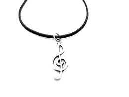 $enCountryForm.capitalKeyWord Canada - 30PCS- Simple Musical Note Necklace Music Notation Theme Pendant Necklace Music Symbol Treble Clef Leather Rope Necklaces