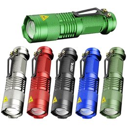 Wholesale 7W LM SK Modes Mini Q5 LED Flashlight Torch Tactical Lamp Adjustable Focus Zoomable Light
