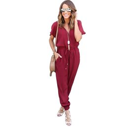 34c6340726e Wholesale- Casual Women Slim V Neck Short Sleeve Stretch Bodycon Evening  Party Sexy Jumpsuits Rompers Long Jumpsuit Tunic Bandage Warp