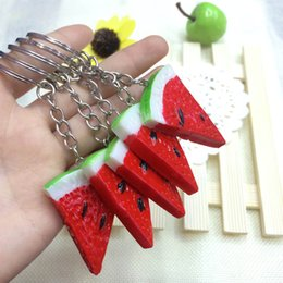 Wholesale Cute Korean food simulation fruit watermelon keychain mobile phone pendants opened small gifts supply stall