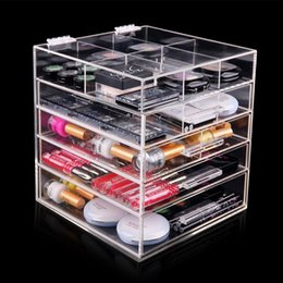 High Quality Clear Acrylic 5 Tier Makeup Organizer With 4 Drawers And Lid  ,divides (L 250x D 262x H 280mm) Part 78