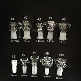 Опт Стеклянные горки чаша штук бонги чаши воронка Рог аксессуары керамические ногтей 18 мм 14 мм мужской женский пьянящий курение водопровод dab буровые установки Бонг слайд