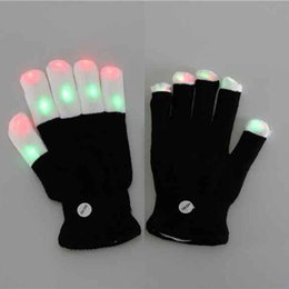 Mitaines Pour Enfants Pas Cher-Gant Flash LED Finger 7 mode couleur léger gants Magic Black gants Rave Party Supplies Halloween décoration