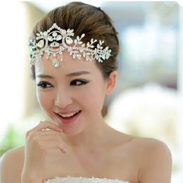 Crystal Heads Australia - Gorgeous Crystal Glass Headband Fashion Silver Rhinestone Head Chain Headpiece Bridal Tiaras Jewelry for Wedding Prom Party Hair Accessories