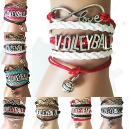Discount volleyball bracelets - Wholesale-Drop Shipping Infinity Love Volleyball Bracelets- Handamde Leather Braided Sports Charm Team Fans Gift-8 Color