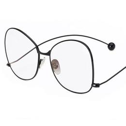 21dbef2921 New Fashion eyewear Oversized round women glasses cute clear lens glasses  brand vintage Metal big frame eyeglasses
