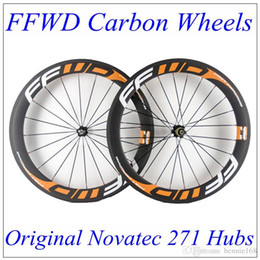 bike wheel set 26 NZ - FFWD Orange Decals 60mm Depth 23mm Width Carbon Bike Wheels Matt Finish 3K Weave Clincher Tubular With Black Novatec 271 Hubs 20 24