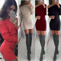 $enCountryForm.capitalKeyWord NZ - S-XL Khaki Tunic Winter Dress Women Casual Batwing Sleeve Party Dresses Lady Sexy Mini Plus Size Slash Neck Dress Vestidos 15343