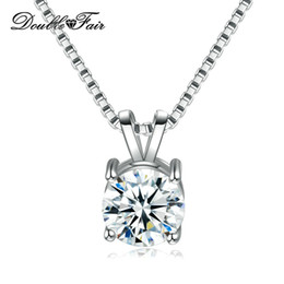 Discount rhodium plated cz - Simple Elegant Round CZ Diamond Necklace & Pendant White Gold Plated Fashion Jewelry For Women Gift DFN613