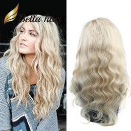 Discount brazilian human hair caps - Honey Blonde Human Hair Wigs Body Wave Full Lace Wavy Wig 10-24inch #613 Glueless Front Lace Wigs Average Cap Size Bella
