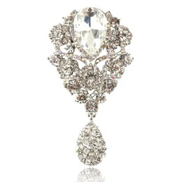 Wholesale 3 Inch Rhinestone Diamante Crystal Drop Large Bridal Brooch Prom Party Gift Pins Wedding Invitation Brooches