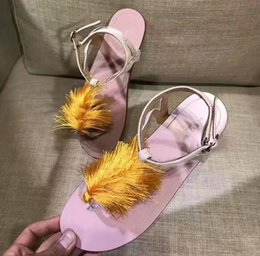 Decorating Flats NZ - Ladies feathers decorated flat sandals European station 2017 new arrival tide trend fashion wild women sandals