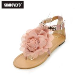 e128d54a70d6b9 Wholesale-Big size 34-43 Gladiator Sandals for Women Bohemia Beaded Summer  Flower Flat Heels Flip Flops Women s Shoes Tstraps Sandals