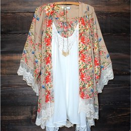 Cotton Kimonos Wholesale Canada - Womens Floral Printed Blouse Long Sleeve Chiffon Kimono Cardigan Tops Loose Coat Bikini Cover-up Summer Beach Style Flower Cover Up Free DHL