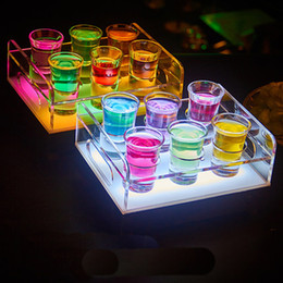 Usb Cup Holder Canada - Free Shipping 6 12-Bottle Shot Glass Tray Bullet Cup Holder colorful LED rechargeable light up Wine cups rack bars ice buckets