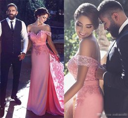 Prom Dresses Covering Shoulders Canada - Arabic Dubai Blush Pink Mermaid Elegant Evening Gowns Sleeves 2017 Off the Shoulder Short Sleeve Lace Prom Dresses Special Occasion