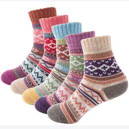 Großhandels-Herbst-Winter-starke warme Frauen-Socken reizende süße klassische bunte multi Muster-Wollmischungs-Literatur-Kunst-Art-Kaschmir-Socke