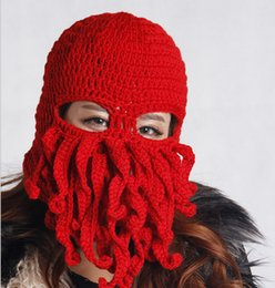 5f97f8dad4552 NEW Creative Handmade Knitting Wool Funny Animal Hats Beard Octopus  Crocheted Tentacle Knit Caps Beanies for Men Women