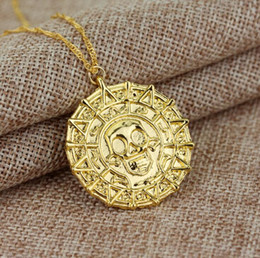 $enCountryForm.capitalKeyWord Canada - Brand new Jewelry Necklace Gold Coins Men's Skull Necklace Pendant WFN597 (with chain) mix order 20 pieces a lot