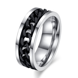 Men Size 15 Rings Australia - Meaeguet 8MM Punk Rings For Men And Women 316L Stainless Steel Spinner Chain Shaped Bague Jewelry 3 Colors US Size 6-15 R-016S