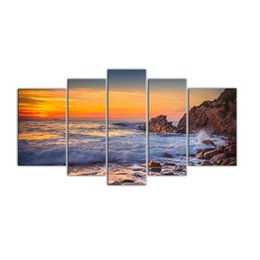 Chinese  5 Panels Seascape Canvas Painting Wall Art Sunset Sea View Painting Print on Canvas with Wooden Framed Artwork for Home Decor manufacturers