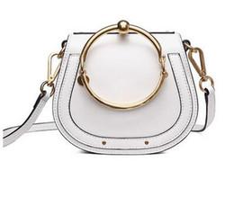 China Portable bag ring saddle bags NILE retro small semicircle metal bracelet Leather Shoulder Bag Handbag suppliers