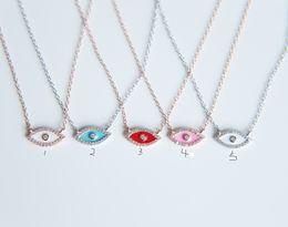 $enCountryForm.capitalKeyWord Canada - promation 2017 Full CZ Solid 925 Sterling Silver Evil Eye Hamsa White\red\pink enamel Women Pendant Necklace diy making for women gift