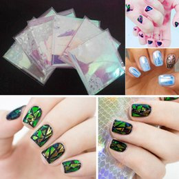Barato Etiquetas Da Arte Do Prego Punk-Atacado- 5Pc / Lot 2016 Fashion Punk Transfer Foil Sticker Broken Glass Nail Art DIY Nail Beauty Decoração Decalque de estêncil NA981