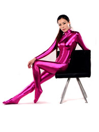 Shiny Cosplay Suit UK - Sexy Unisex Rose Pink Zentai Catsuit Shiny Metallic Lycra For Halloween Cosplay Party Suit Free Shipping