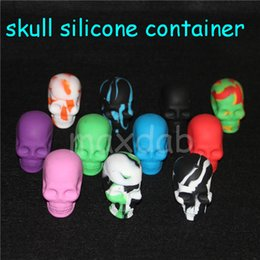 Round Skull NZ - wholesale Silicone Skull Jar oil or wax Container 15ml Non-stick Silicone Dab Container 30pcs lot free dhl