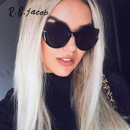 f44692b3bf Semi-Sin reborde Cat eye Cateye Big Brand Designer Mujeres Sun Glassess  Mujer Espejo Gafas de sol Lady UV400 Flat Lens Vintage