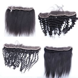 lace frontal closure 13x2 2019 - 13x2 Lace Frontal Closures 8-20inch Brazilian Human Hair Lace Frontals deep body loose wave straight curly Pre Plucked F