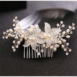 Quinceanera hair online shopping - Silver Plated Hair Combs Jewelry for Bridal Quinceanera Hair Jewelry Crystals Pearls Hair Combs Wedding Women Party Pageant Headdress