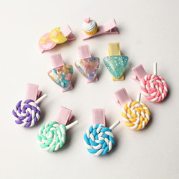 $enCountryForm.capitalKeyWord Canada - 20pc lot Lollipop Soft Ceramics Colorful Hairpins Triangle Mini Pearls Hair Clips Double Moon Stars Plastic Barrettes Cakes Hair