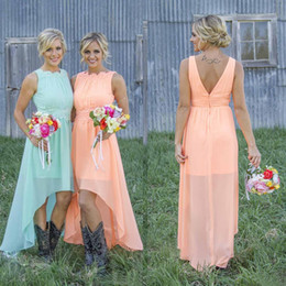 High Low Wedding Dress Under Color NZ - Casual Mint Orange Chiffon High Low Bridesmaid Dresses 2017 Cheap Country Lace Wasit Maid Of Honor Wedding Party Dress Custom Made EN9152