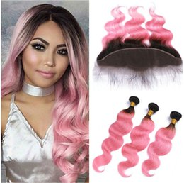 """2tone Hair Canada - Brazilian Ombre Hair With Lace Frontal 13x4"""" 4Pcs Lot Body Wave Dark Root 1B Pink 2Tone Ombre Human hair 3Bundles With Full Frontals"""
