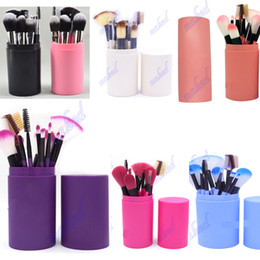 Packaging For Lipstick Australia - plastic cup holder 12pcs makeup brushes safty way dusty fee package 12 function brush for eyeshadow,lipstick,fondation free OEM order