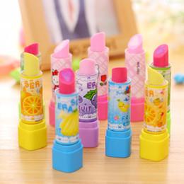 Discount lipstick erasers - Wholesale-20pcs lot Cute fruit Lipstick Eraser Kawaii pencil erasers for kids korean stationery canetas office school su