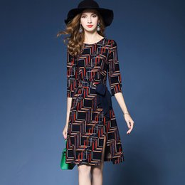 $enCountryForm.capitalKeyWord Canada - Dresses Fashion Work Dresses Spring and Autumn's New Temperamental Plaid Printed Bow with A Bow and Buttock A Word Dress