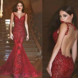 Robe De Soirée Sirène Rouge Foncé Pas Cher-2017 New Arab Backless Mermaid Robes de soirée Charmantes Robes de bal Longs Sequins Lace Applique Dark Red Formal Cheap Evening Party Wear