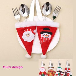 Smart Christmas Decoration Knife And Fork Set Decorate For Dining Table Multi Design Snowman Santa Clause Cute Style Gift Family