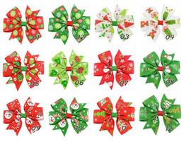 24 pcs lot girl 3 inch christmas ribbon bows hairpin snowman christmas tree gloves pattern pinwheel hair clips beautiful huilin c31 - Christmas Tree Prices